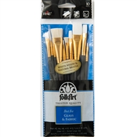 BRUSH SET FOLK ART 10PC GLASS & FABRIC 50558E