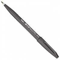SIGN PEN W/ BRUSH TIP BLACK PLSES15-NA