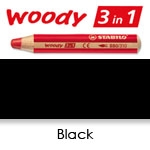 WATER SOLUBLE WAX PENCIL STABILO WOODY BLACK SW880-750