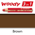 WATER SOLUBLE WAX PENCIL STABILO WOODY BROWN SW880-630