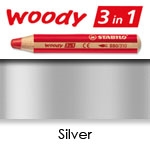 WATER SOLUBLE WAX PENCIL STABILO WOODY SILVER SW880-805