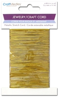JEWELRY METALLIC STRETCH CORD 1.2MM X 12YD GOLD MQCC574A-DISC