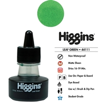 INK HIGGINS NON- WATERPROOF DYE BASED GREEN 1OZ 44111
