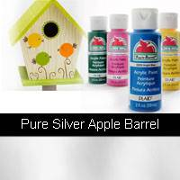 APPLE BARREL PURE METALLIC SILVER 2OZ  PLAID 20762
