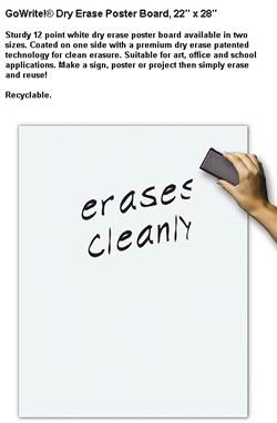 DRY ERASE POSTER BOARD WHITE 22X28 25C-1 5442