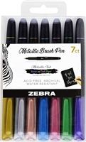 ZEBRA METALLIC BRUSH PEN SET  -7PC ZE01607