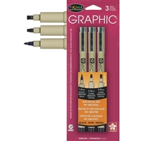 PIGMA MICRON PEN SET - 3PC GRAPHIC BLACK AST SIZES SK38881
