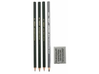 DRAWING SET DESIGN/EBONY SET W/ERASER 4/CD SA2502