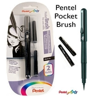 PENTEL POCKET BRUSH PEN WITH 2 REFILL INK PLGFKP3BPA