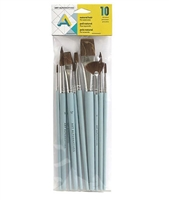 BRUSH SET AA1130 10PC NATURAL HAIR WATERCOLOR AA1130