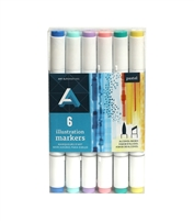 ILLUSTRATION MARKER SET AA PASTEL 6PC AAM-SETPAS