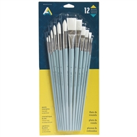 BRUSH SET WHITE SYN 12 LH ASSORTED SIZES AA40445