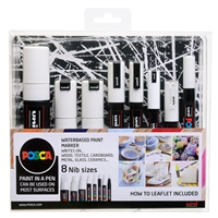 POSCA PAINT MARKER SET ALL SIZES - SET/8 ALL WHITE MARKERS PXPCWHT8