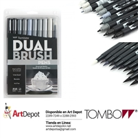 MARKER TOMBOW DUAL BRUSH SET 10/GRAY SCAL TB56171