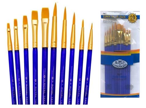 Royal and Langnickel Natural Hair Super Value Brush Set Pack of 10