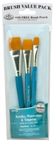 BRUSH SET GOLD TAKLON GLAZE WASH SET-3 RYRSET-9185