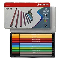 MARKER SET STABILO PEN 68 10 COLOR SET METAL BOX SW6810-6