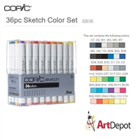 COPIC SKETCH MARKER SET - 36PC BASIC COLORS CMSB36