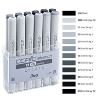 COPIC SKETCH MARKER SET - 12PC COOL GRAY CMSCG12