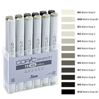 COPIC SKETCH MARKER SET - 12PC WARM GRAY CMSWG12