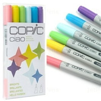 CIAO COPIC MARKER SET - 6PC SET BRIGHTS CMI6BRIGHTS