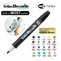 ARTLINE DECORITE 3.0 FLAT MARKER BLACK 6N