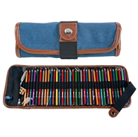 CANVAS PENCIL ROLL UP CASE - DENIM 36 CT GL354360