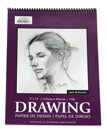 Jack Richeson 12-Inch-by-18-Inch Drawing Paper Pad 30-Sheet Spiral
