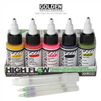 GOLDEN ACRYLIC SET HIGH FLOW 5 COL & 3MRKR SET GD959-0