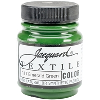 JACQUARD TEXTILE COLOR FABRIC PAINT 2.25OZ EMERALD GREEN 117 - JAC1117