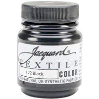 JACQUARD TEXTILE COLOR FABRIC PAINT 2.25OZ BLACK 122  - JAC1122