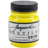 JACQUARD TEXTILE COLOR FABRIC PAINT 2.25OZ FLOURESCENT YELLOW 151 - JAC1151