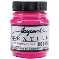 JACQUARD TEXTILE COLOR FABRIC PAINT 2.25OZ FLOURESCENT PINK 153  - JAC1153