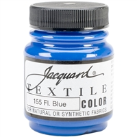 JACQUARD TEXTILE COLOR FABRIC PAINT 2.25OZ FLOURESCENT BLUE 155 - JAC1155